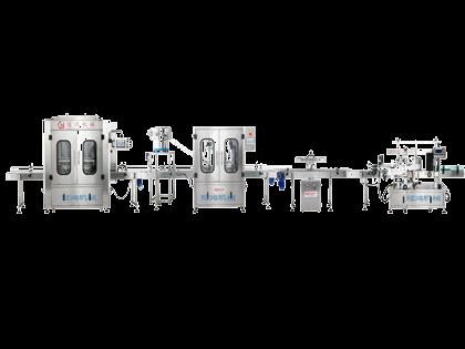 全自动灌装旋盖铝箔封口贴标化工生产线